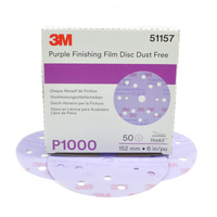 3M Purple Finishing Film Disc Dust Free P1000, 51157 (50 Discs)