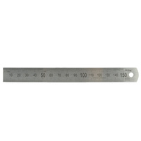 150mm/6in Matt Stainless Steel Rule - Metric/Imperial