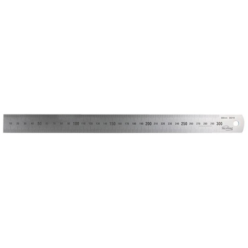 300mm/12in Matt Stainless Steel Ruler - Metric/Imperial